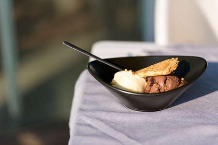 Waffles with ice cream and coffee. Spanish dessert