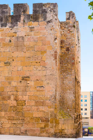 TARRAGONA, SPAIN - MAY 1, 2017: View of the wall of the ancient tower. Close-up. Vertical