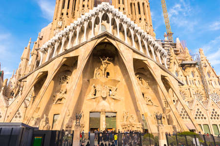 16: BARCELONA, SPAIN - FEBRUARY 16, 2017: Cathedral of Sagrada Familia. The famous project of Antonio Gaudi. Close-up