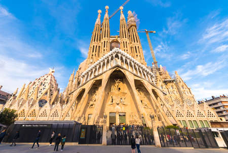 BARCELONA, SPAIN - FEBRUARY 16, 2017: Cathedral of Sagrada Familia. The famous project of Antonio Gaudi. Copy space for text