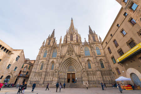 BARCELONA, SPAIN - FEBRUARY 16, 2017: Cathedral of the Holy Cross and St. Eulalia. Copy space for text Editorial
