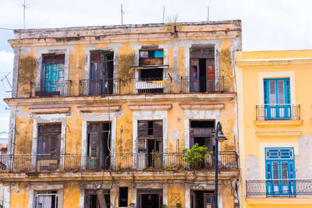 balcony: View of the apartment house, Havana, Cuba. Copy space