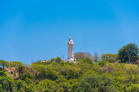 The Statue of Jesus Christ in Havana, Cuba. Copy space for text