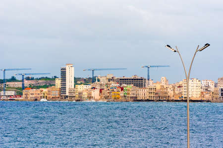 View of the Malecon, Havana, Cuba embankment. Copy space for text