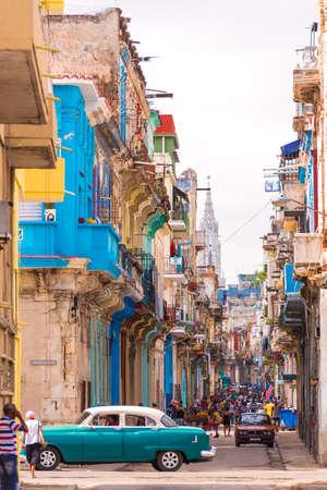 CUBA, HAVANA - MAY 5, 2017: View of the street of old Havana, Cuba. Copy space. Vertical