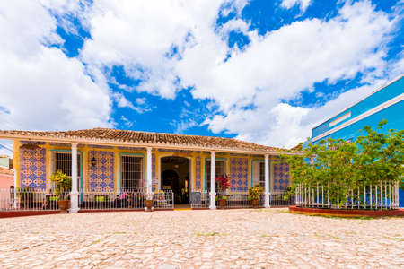 TRINIDAD, CUBA - MAY 16, 2017: View of the cafe building. Copy space for text