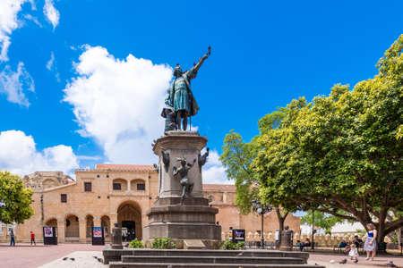SANTO DOMINGO, DOMINICAanse REPUBLIEK - 8 augustus 2017: Gezicht op het monument voor Christopher Columbus. Ruimte voor tekst kopiëren