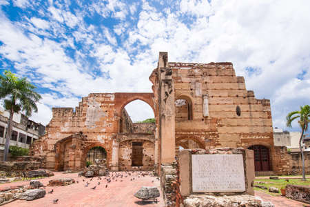 SANTO DOMINGO, DOMINICAN REPUBLIC - AUGUST 8, 2017: View on Ruins of the Hospital of St. Nicolas of Bari. Copy space for text