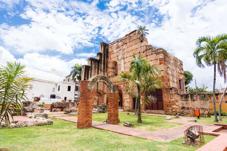 View on Ruins of the Hospital of St. Nicolas of Bari, Santo Domingo, Dominican Republic. Copy space for text