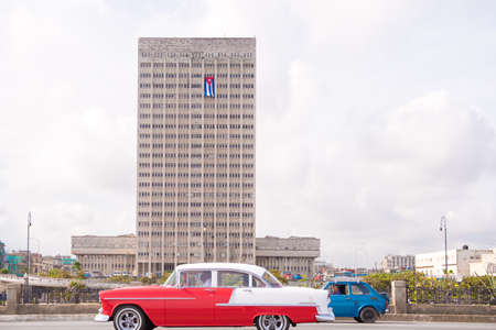 CUBA, HAVANA - MAY 5, 2017: American retro car on city street. Editorial