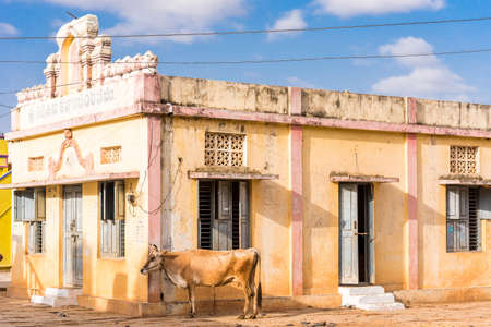 View of a classical Indian building, Puttaparthi, Andhra Pradesh, India. Copy space for text Stock Photo