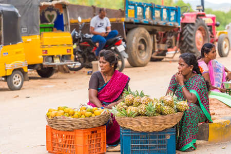 PUTTAPARTHI, ANDHRA PRADESH, INDIA - JULY 9, 2017: Indian market. Copy space for text Editorial