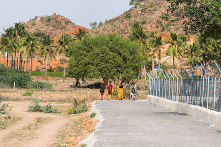 PUTTAPARTHI, ANDHRA PRADESH, INDIA - JULY 9, 2017: Indian landscape. Copy space for text