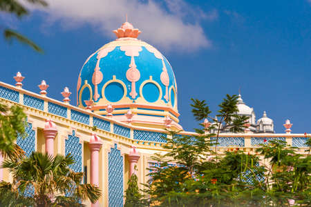 View of the beautiful Indian building, Puttaparthi, Andhra Pradesh, India. Copy space for text