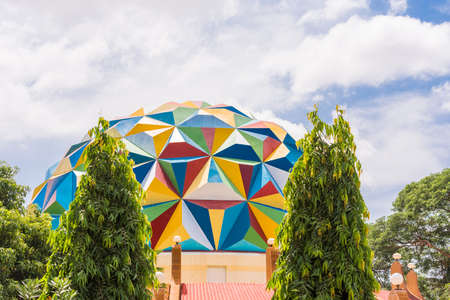 PUTTAPARTHI, ANDHRA PRADESH, INDIA - JULY 9, 2017: View of the planetarium building. Copy space for text
