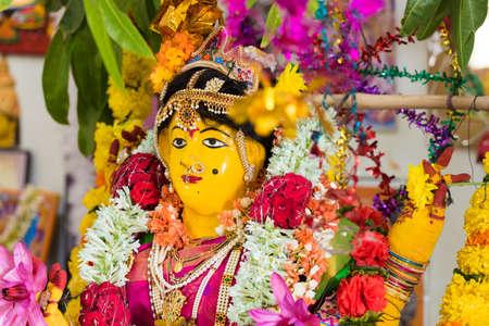 PUTTAPARTHI, ANDHRA PRADESH, INDIA - JULY 9, 2017: Hindu statue. Close-up Editorial