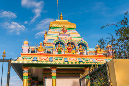 View of the beautiful indian building, Puttaparthi, Andhra Pradesh, India. Close-up