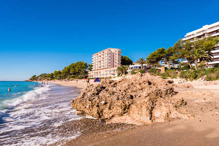 MIAMI PLATJA, SPAIN - SEPTEMBER 13, 2017: View of the sandy beach. Copy space for text Stock Photo