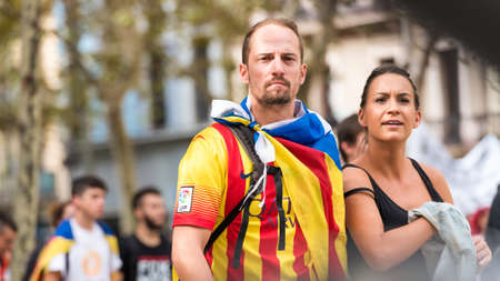 first nations: BARCELONA, SPAIN - OCTOBER 3, 2017: People demonstration for Catalonia independence in Barcelona city center. Close-up Editorial