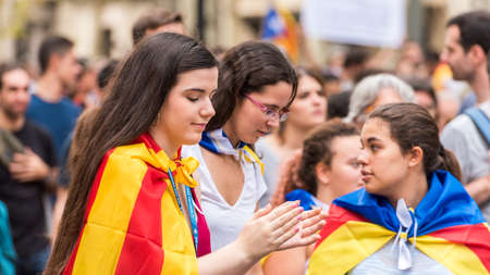 BARCELONA, SPAIN - OCTOBER 3, 2017: Young girls at a demonstration in Barcelona. Close-up