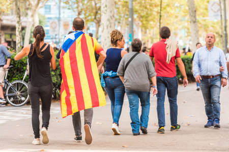 BARCELONA, SPAIN - OCTOBER 3, 2017: People demonstration for Catalonia independence in Barcelona city center. Copy space for text