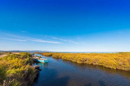 ebro: Ebro Delta estuary and wetlands, Tarragona, Catalunya, Spain. Copy space for text Stock Photo