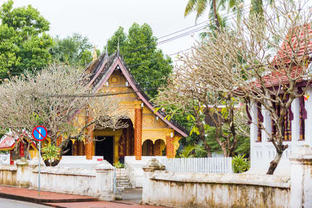 View of the temple Wat Sensoukaram in Louangphabang, Laos. Copy space for text Stock Photo