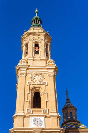 The Cathedral-Basilica of Our Lady of Pillar - a roman catholic church, Zaragoza, Spain. Close-up. Vertical