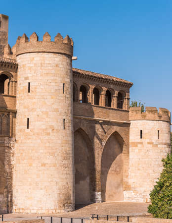View of the palace Aljaferia, built in the 11th century in Zaragoza, Spain.