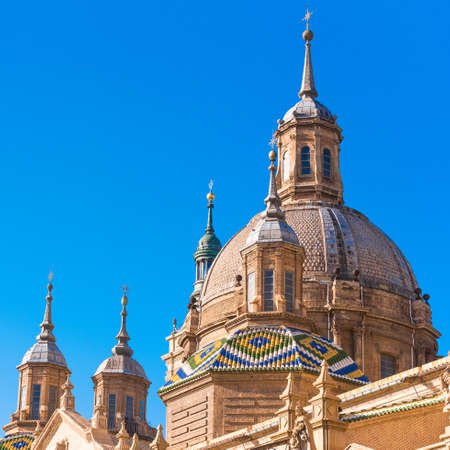 The Cathedral-Basilica of Our Lady of Pillar - a roman catholic church, Zaragoza, Spain. Close-up Stock Photo