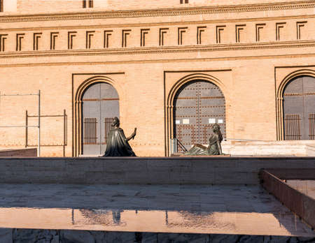 Two female bronze sculptures in Pilar Square, Zaragoza, Spain. Copy space for text