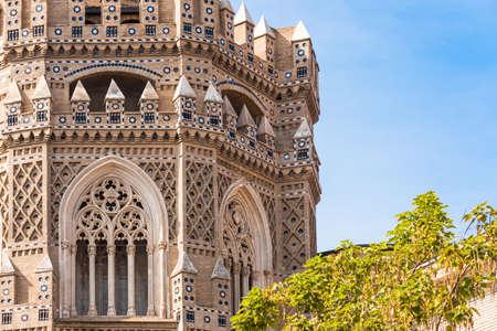 The Cathedral of the Savior or Catedral del Salvador in Zaragoza, Spain. Close-up Archivio Fotografico