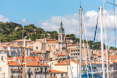 View of city buildings, Sete, France. Close-up Stock Photo