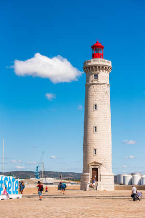 SETE, FRANCE - SEPTEMBER 10, 2017: Stunning harbour of Sete with lighthouse in the south of France near the Mediterranean. Copy space for text