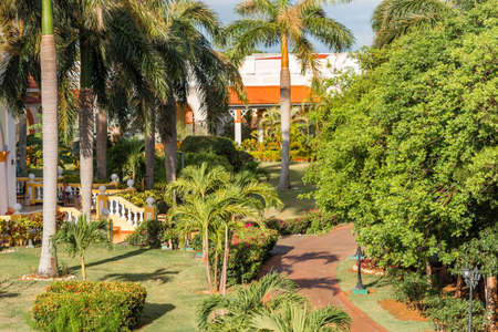 VARADERO, MATANZAS, CUBA - MAY 18, 2017: View of the hotel among the forest. Copy space for text Editorial