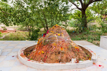 View of the ritual hill, Puttaparthi, Andhra Pradesh, India. Copy space for text Stock Photo