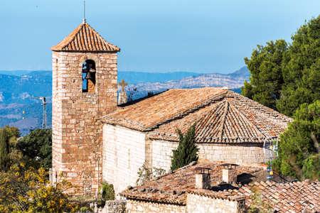 View of the Romanesque church of Santa Maria de Siurana, in Siurana, Tarragona, Spain. Copy space for text Stock Photo