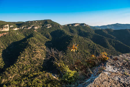 Rocky landscape in Siurana de Prades, Tarragona, Spain. Copy space for text Stock Photo