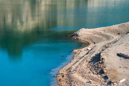 Reservoir Pantano De Siurana, Tarragona, Spain. Copy space for text Stock Photo