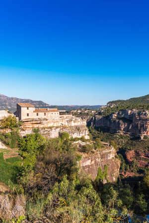 View of the village Siurana de Prades, Tarragona, Catalunya, Spain. Copy space for text. Vertical