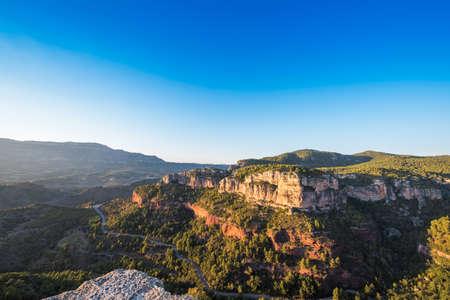 Rocky landscape in Siurana de Prades, Tarragona, Catalunya, Spain. Copy space for text