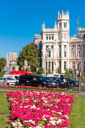 MADRID, SPAIN - SEPTEMBER 26, 2017: The Cybele Palace (City Hall). Copy space for text. Vertical Editorial