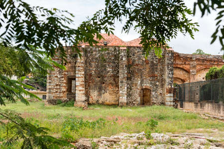View on ruins of the Franciscan Monastery, Santo Domingo, Dominican Republic. Copy space for text Imagens
