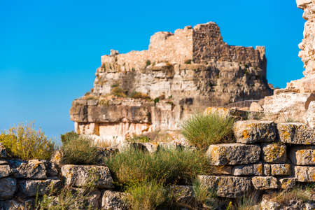 View of the ruins of the castle of Siuran, Tarragona, Catalunya, Spain. Copy space for text Stock Photo