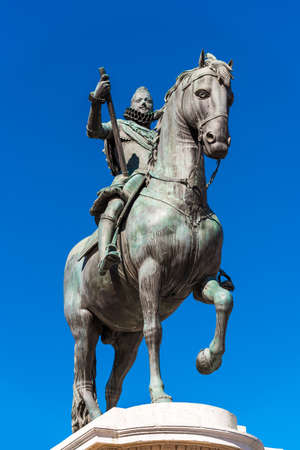 Bronze equestrian statue of King Philip III in Madrid, Spain. Copy space for text. Vertical