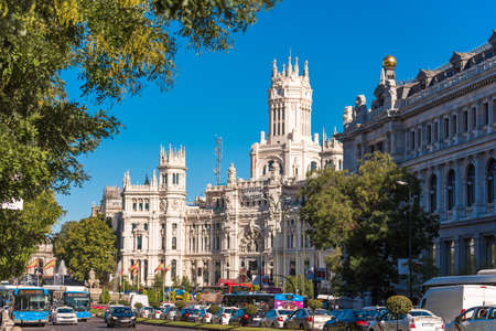 MADRID, SPAIN - SEPTEMBER 26, 2017: Plaza de Cibeles and the Palace of Cibeles. Copy space for text Editorial