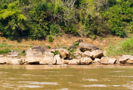 View of the stony bank of the river Nam Khan, Louangphabang, Laos. Copy space for text