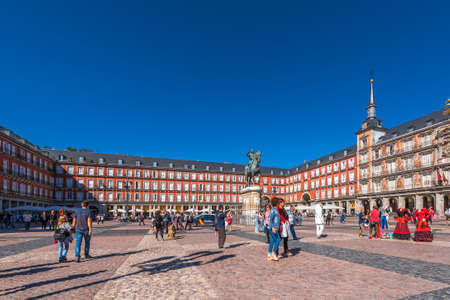 MADRID, SPAIN - SEPTEMBER 26, 2017: The Bulding of the Plaza Mayor with statue of King Philips III. Copy space for text Editorial