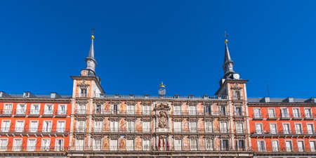 View of the building of the Plaza Mayor, Madrid, Spain. Copy space for text