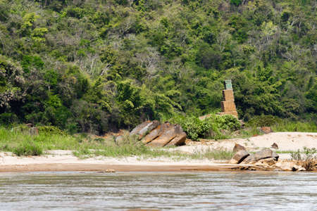 View of the river bank of the Nam Khan river, Louangphabang, Laos. Copy space for text